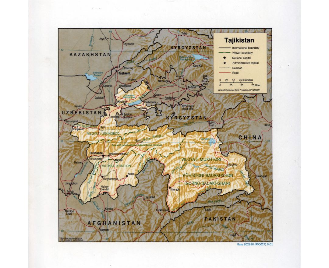 Large detailed political and administrative map of Tajikistan with relief, roads, railroads and major cities - 2001