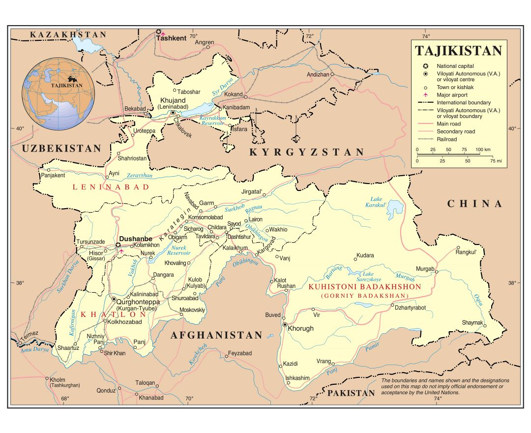 Large detailed political and administrative map of Tajikistan with roads, railroads, cities and airports