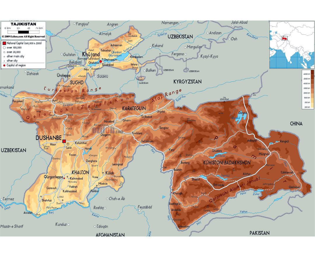 Large physical map of Tajikistan with roads, cities and airports
