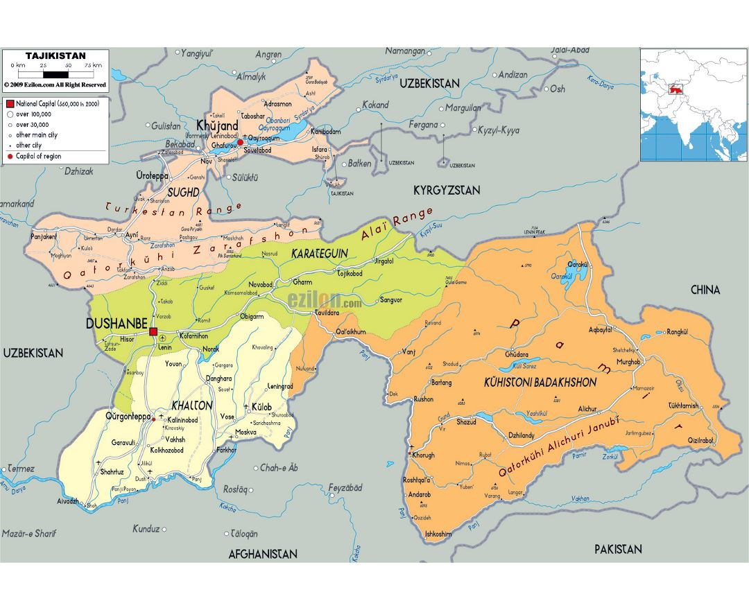 Large political and administrative map of Tajikistan with roads, cities and airports