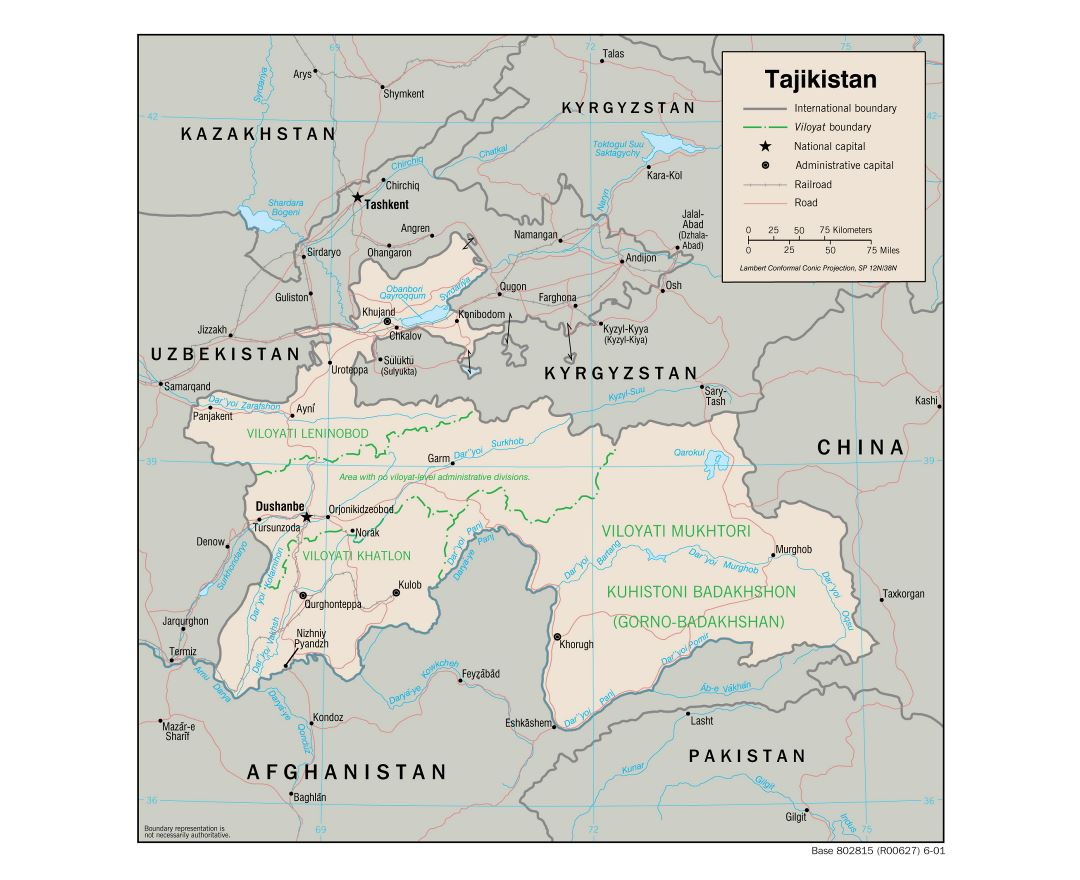 Large political and administrative map of Tajikistan with roads, railroads and major cities - 2001