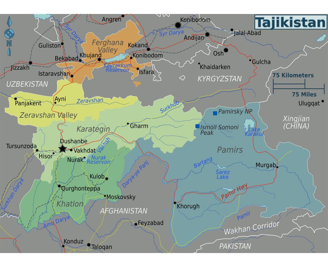 Large regions map of Tajikistan