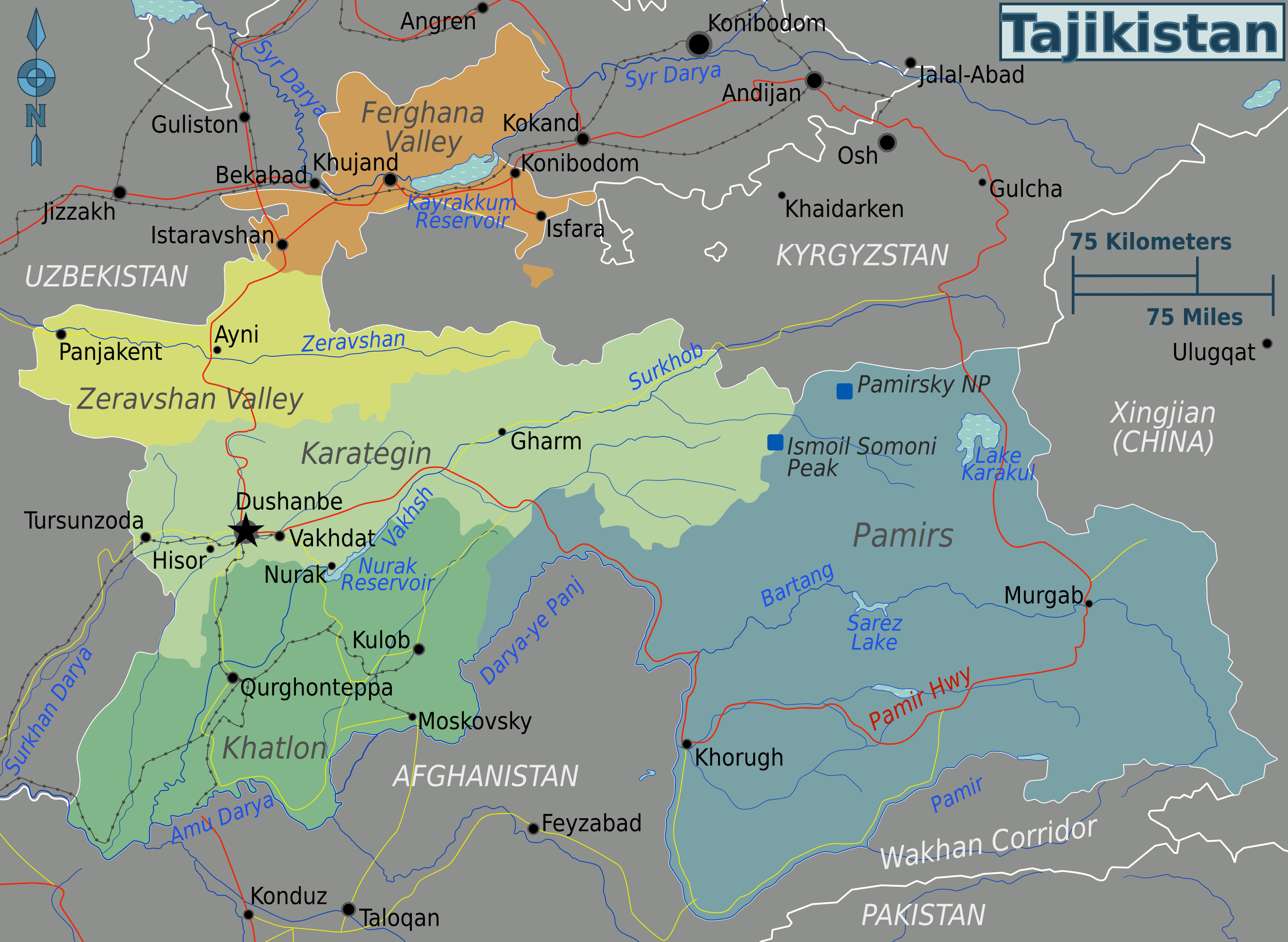 Large regions map of Tajikistan Tajikistan Asia Mapsland