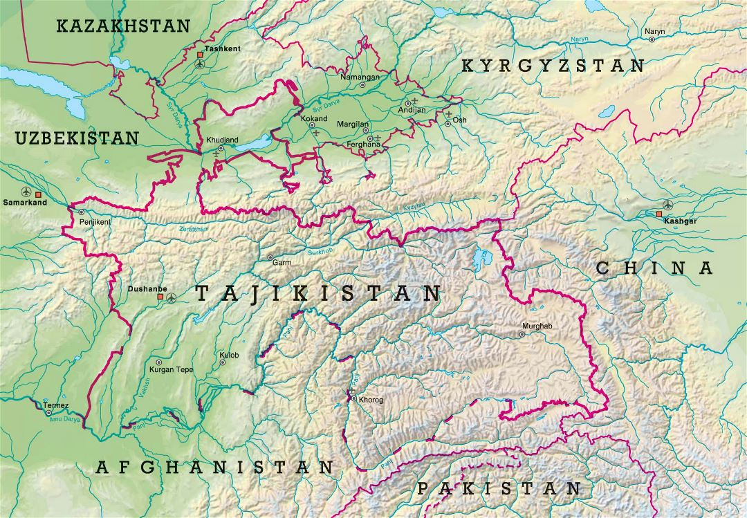 Large relief map of Tajikistan