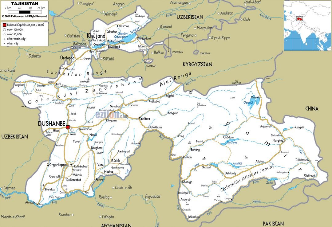 Large road map of Tajikistan with cities and airports
