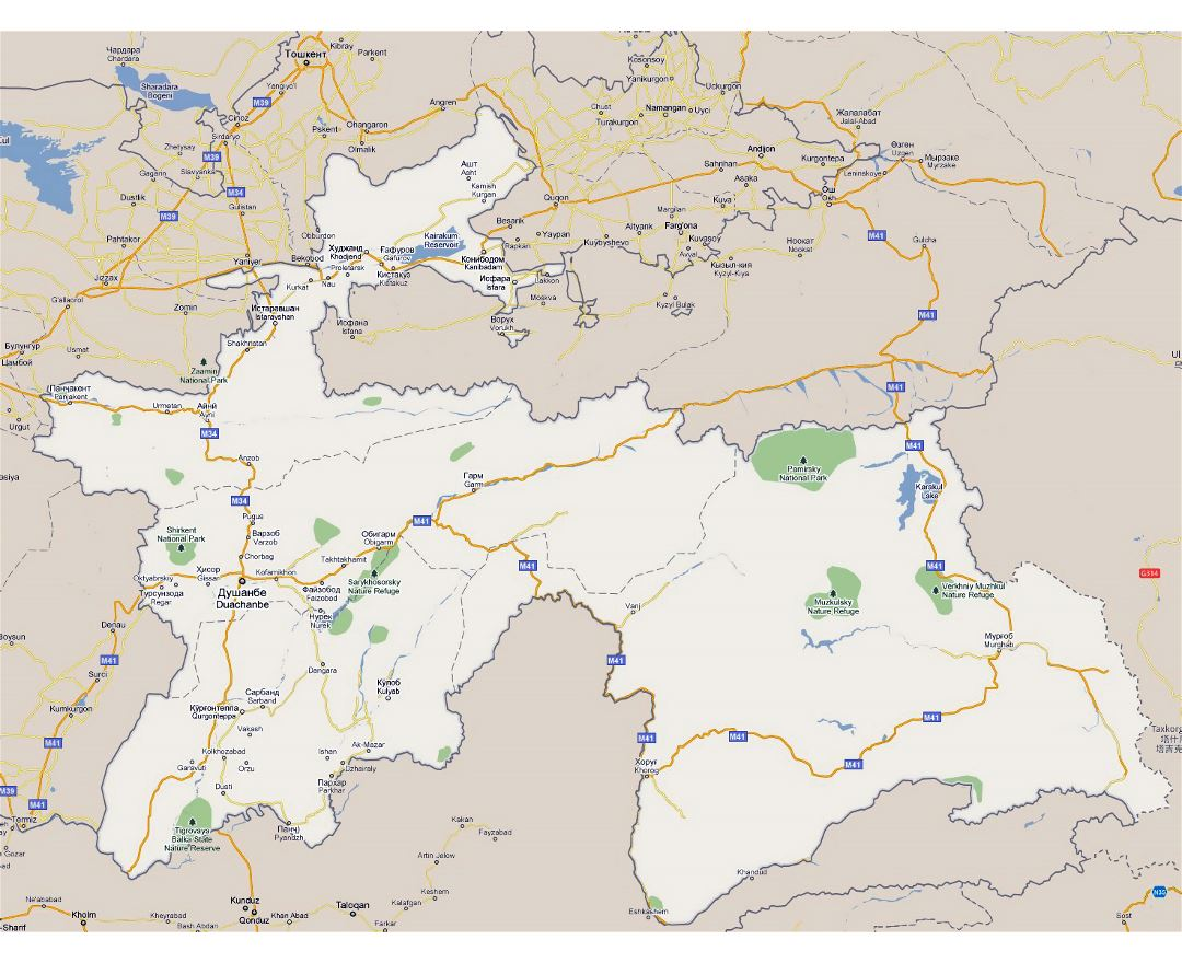 Large road map of Tajikistan with national parks and cities