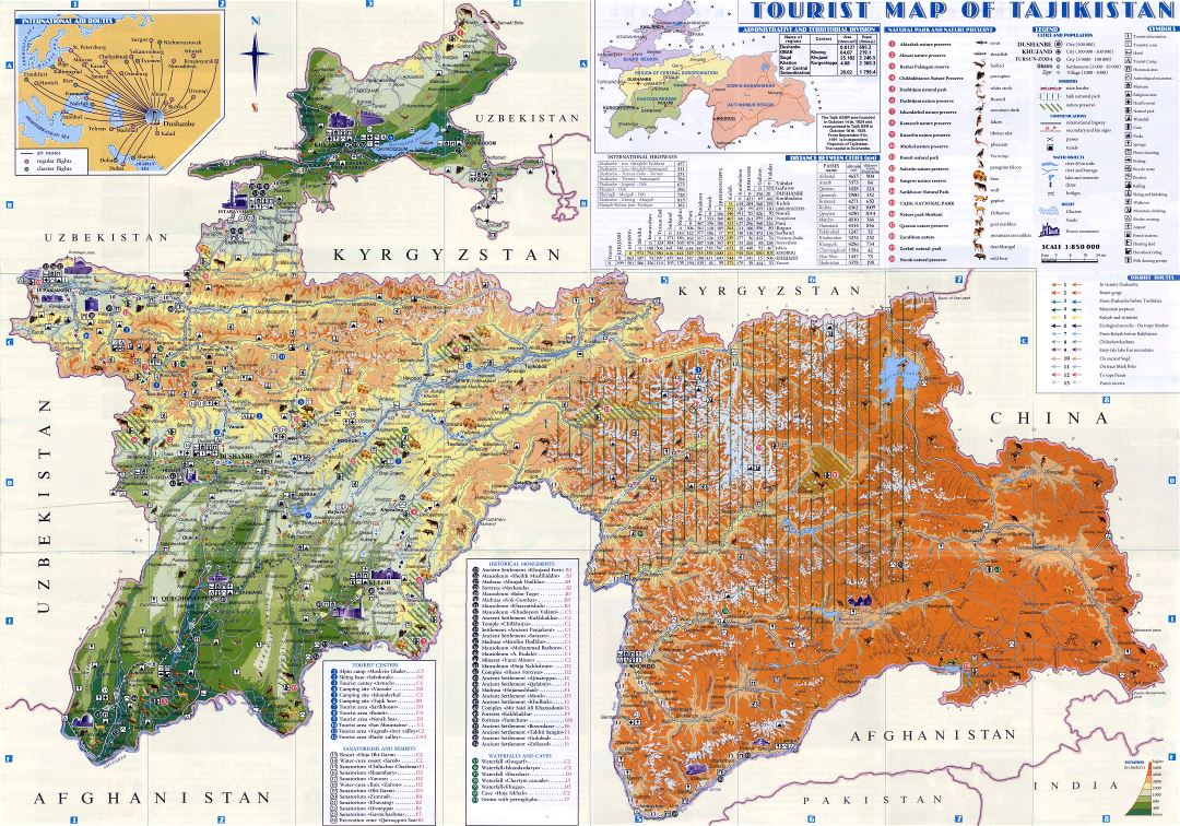 Large scale detailed tourist map of Tajikistan