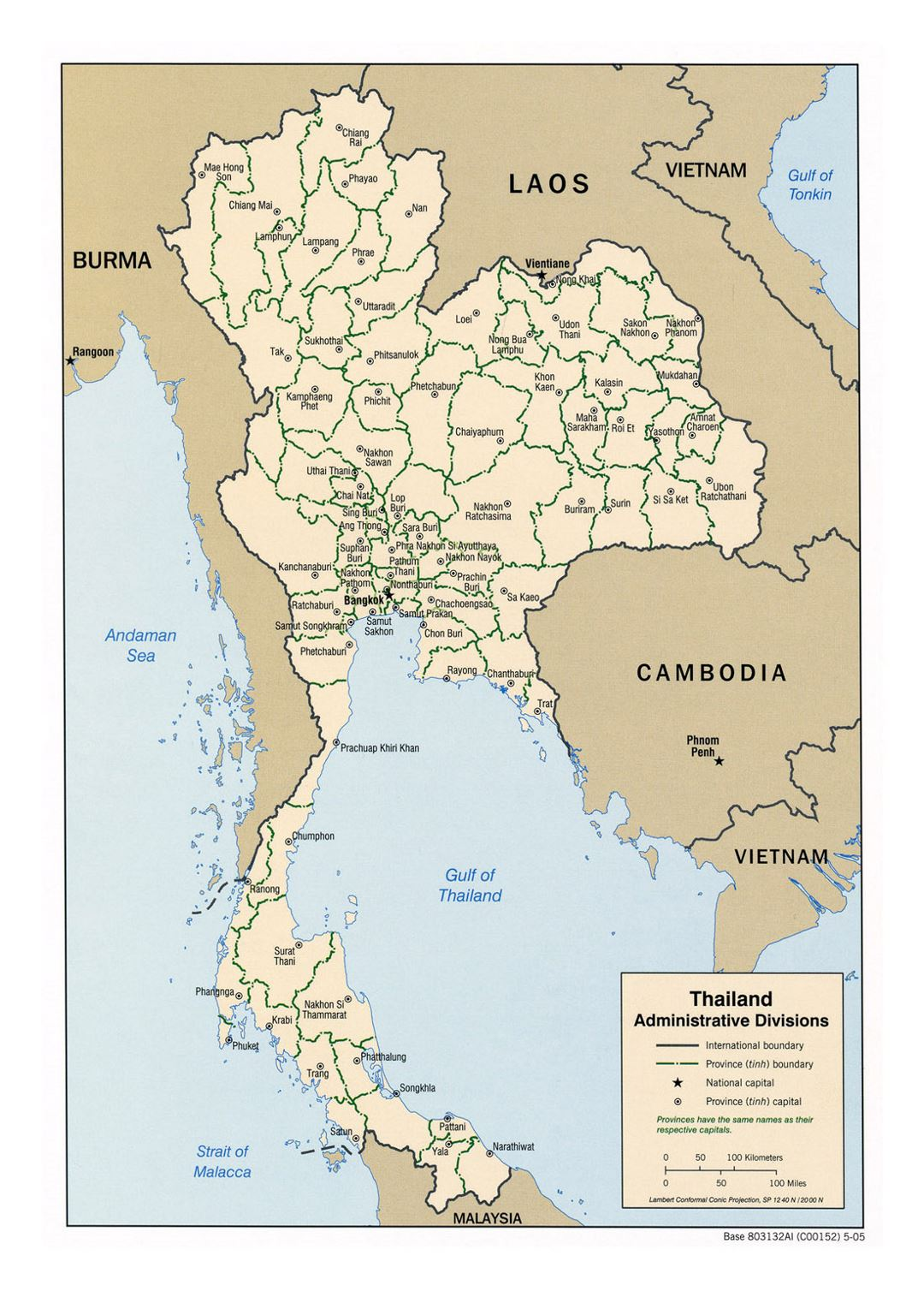 Detailed administrative divisions map of Thailand - 2005