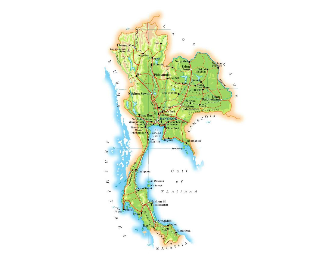 Detailed elevation map of Thailand with roads, railroads, major cities and airports