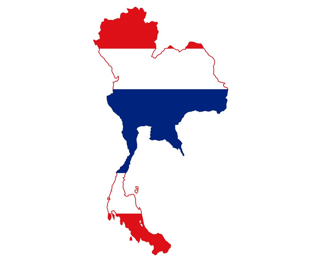 Detailed flag map of Thailand