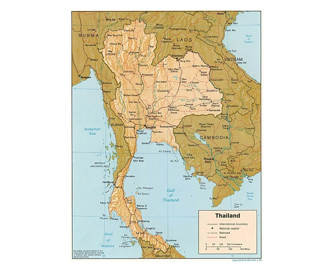 Detailed political map of Thailand with relief, roads, railorads and major cities - 1988