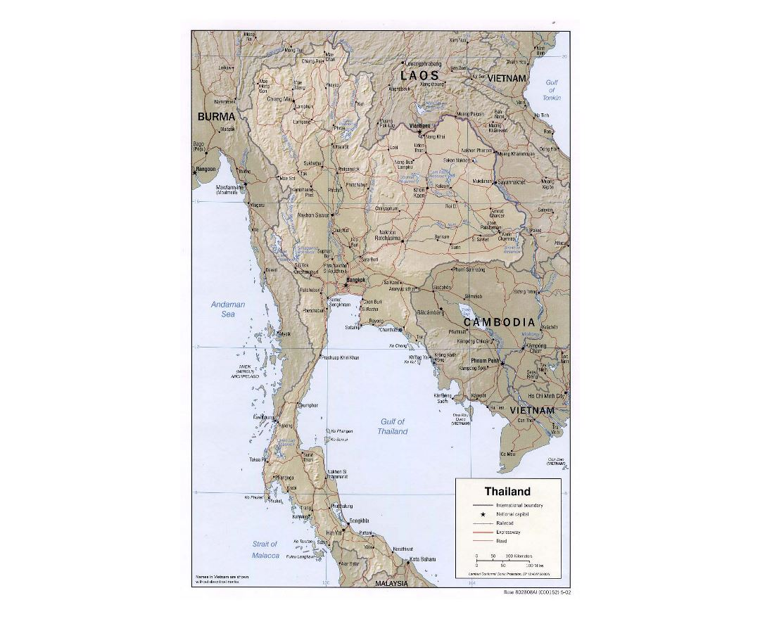 Detailed political map of Thailand with relief, roads, railorads and major cities - 2002