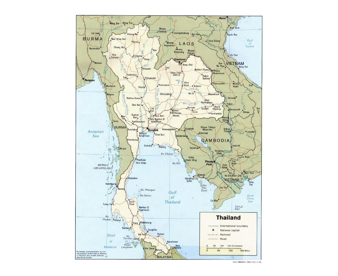 Detailed political map of Thailand with roads, railorads and major cities - 1988