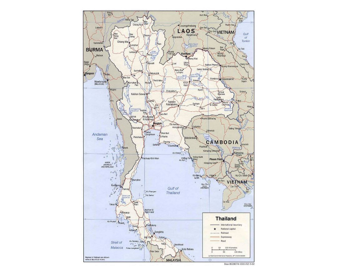 Detailed political map of Thailand with roads, railorads and major cities - 2002