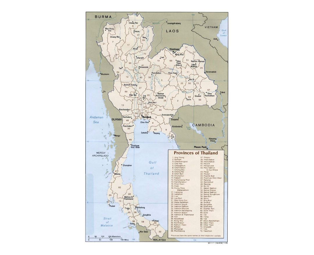 Detailed provinces map of Thailand with major cities - 1988