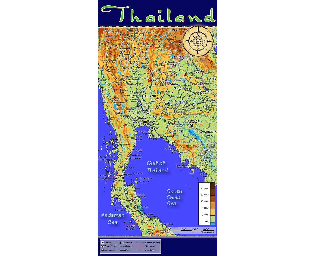 Detailed topographic map of Thailand with other marks