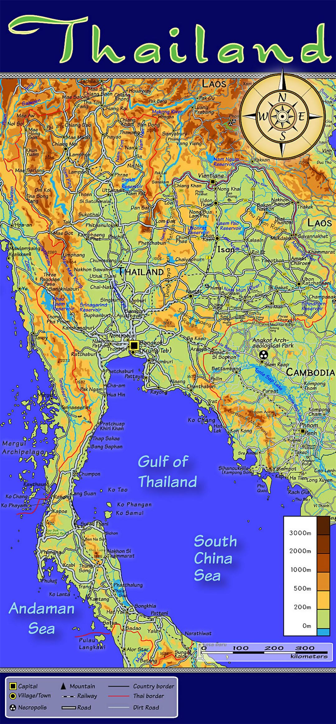 Topographic Map Asia.Detailed Topographic Map Of Thailand With Other Marks Thailand