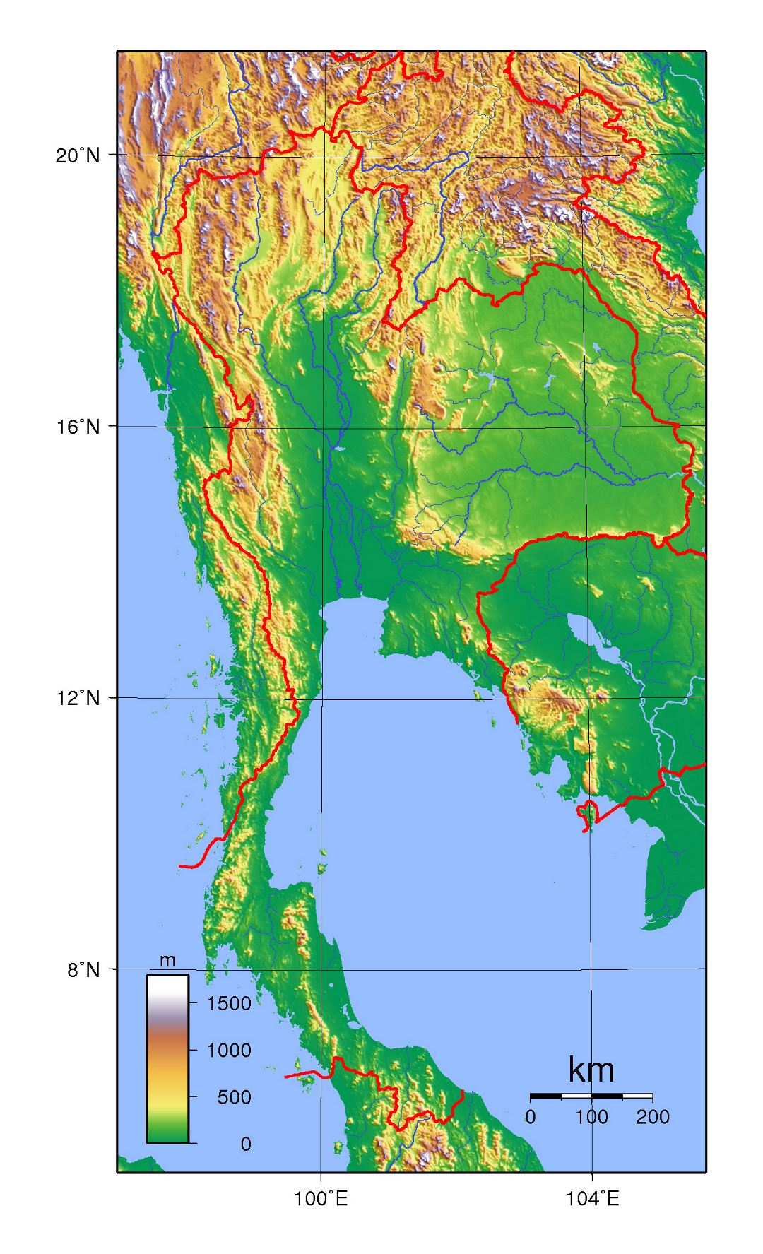 Detailed topographical map of Thailand