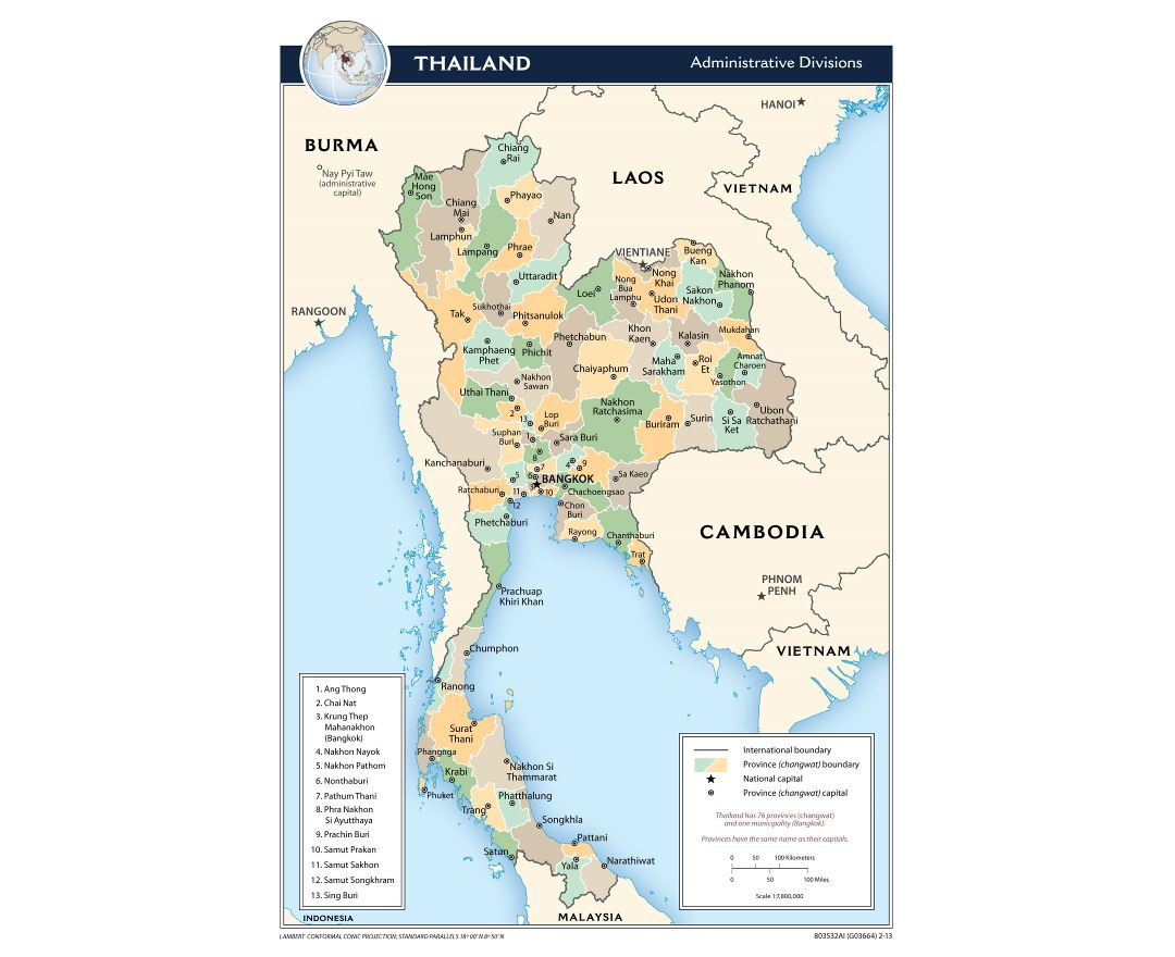 Large administrative divisions map of Thailand - 2013