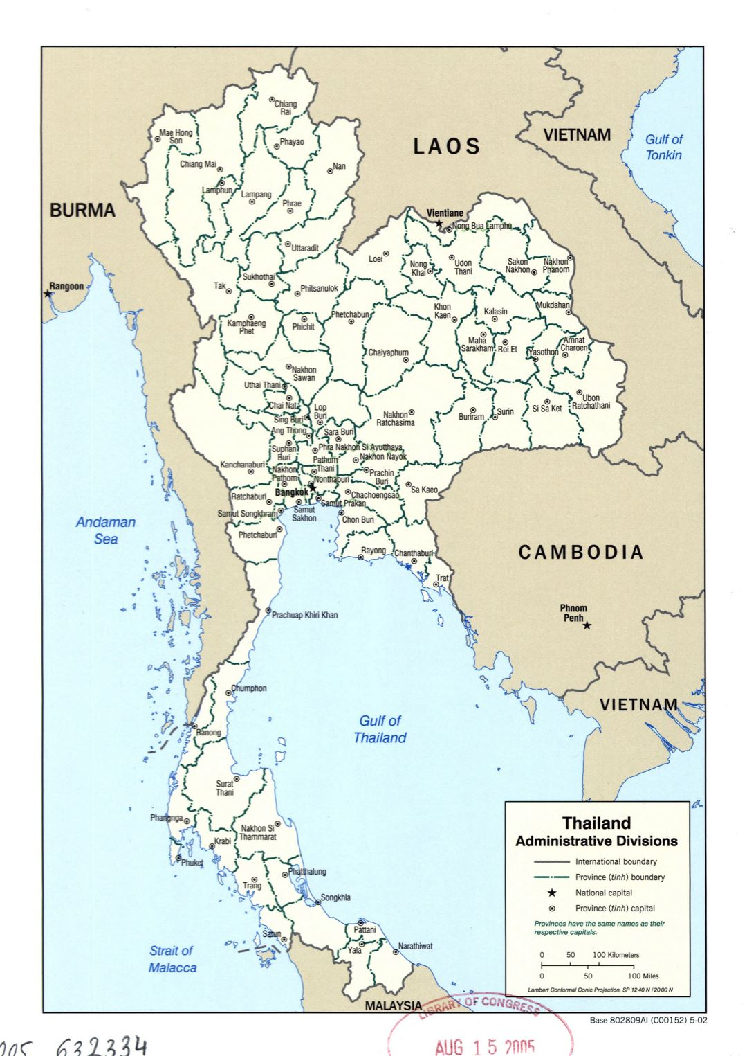 Large detailed administrative divisions map of Thailand - 2002