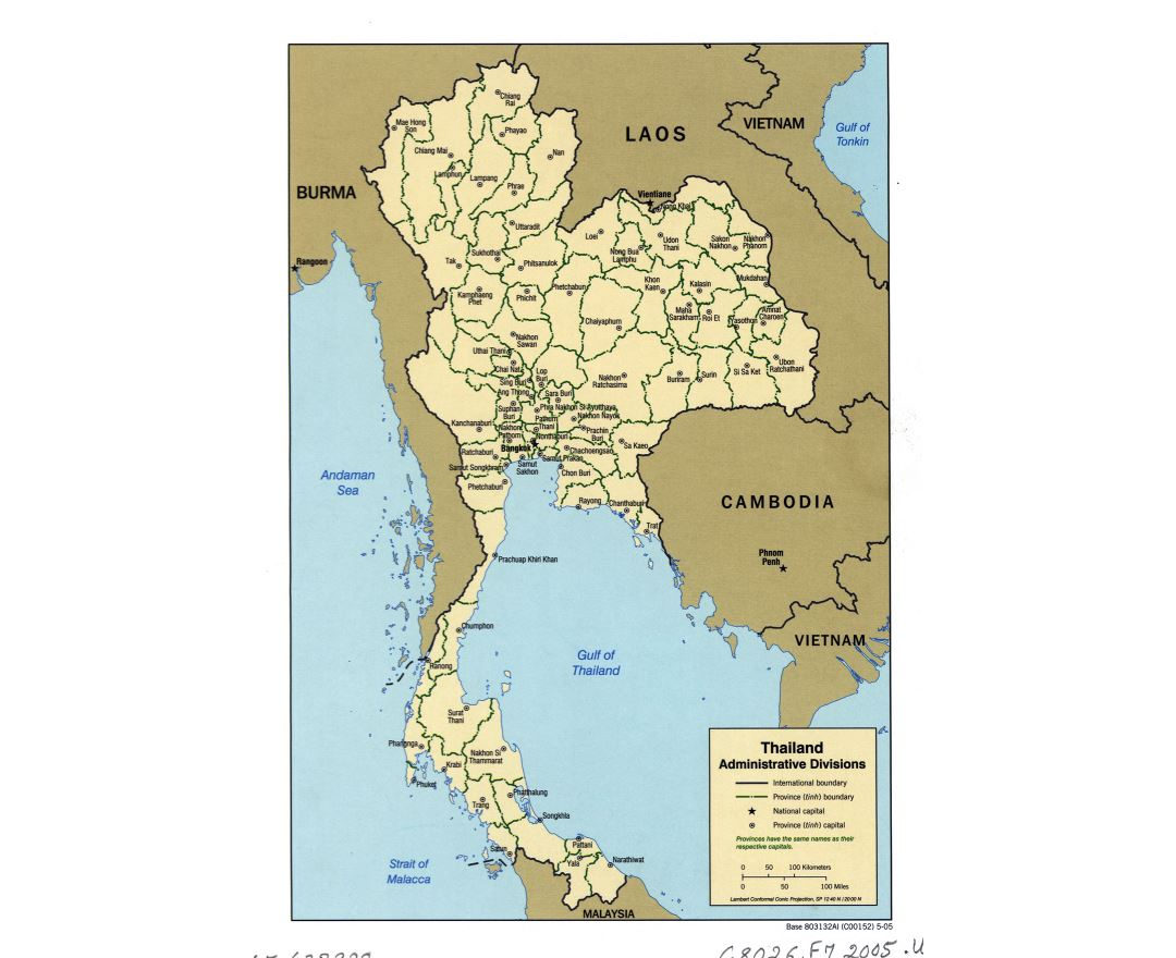 Large detailed administrative divisions map of Thailand - 2005
