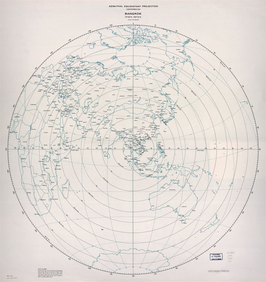 Large detailed azimuthal equidistant projection map centered on Bangkok - 1968