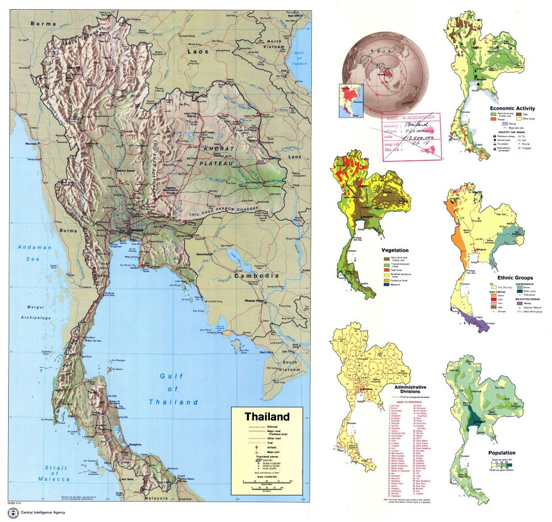 Large detailed country profile map of Thailand - 1974