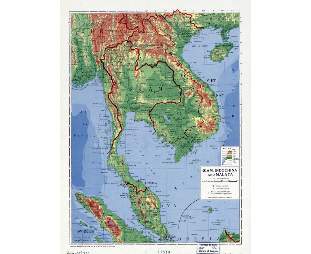 Large detailed physical map of Siam, Indochina and Malaya - 1952
