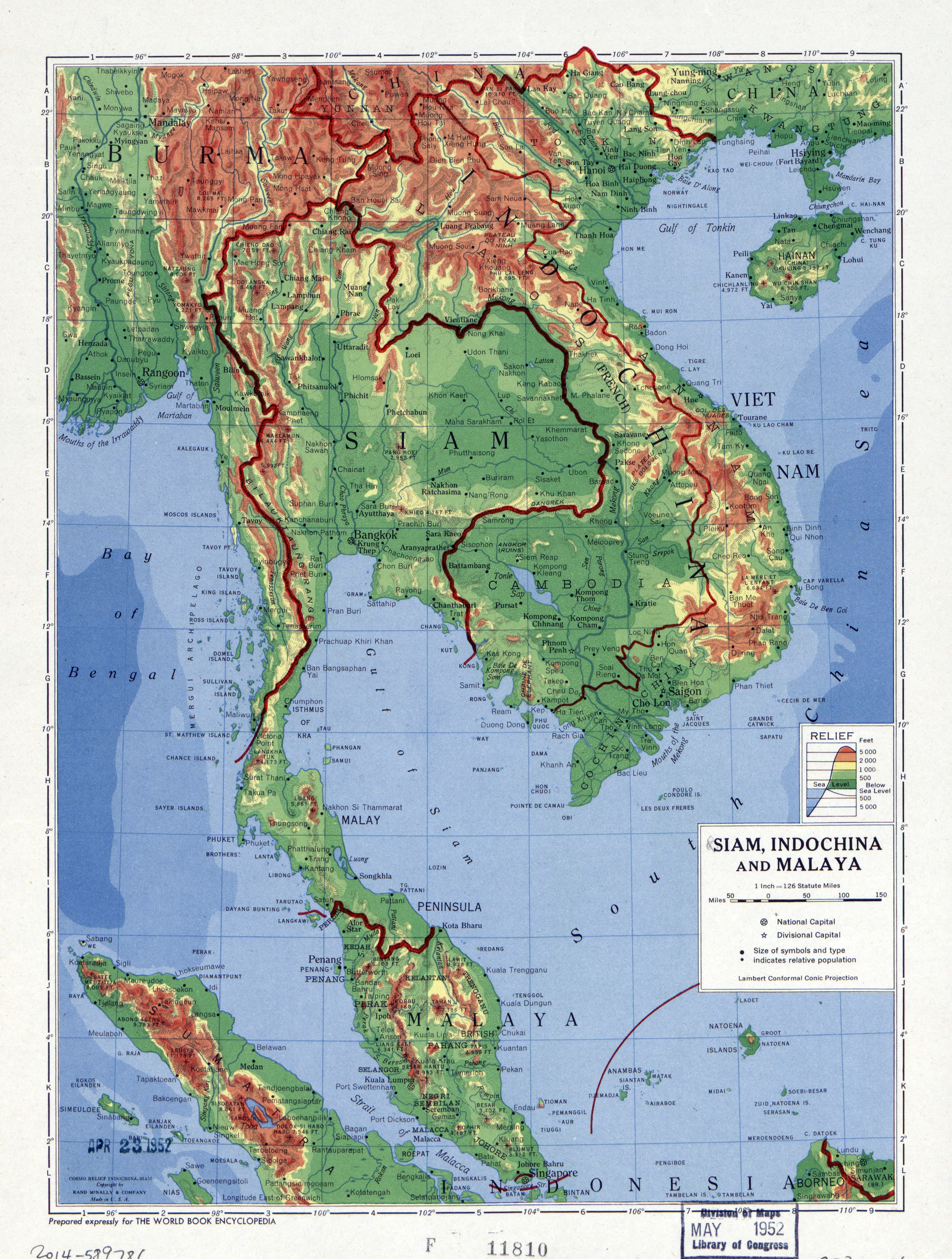 Large detailed physical map of Siam Indochina and Malaya 1952