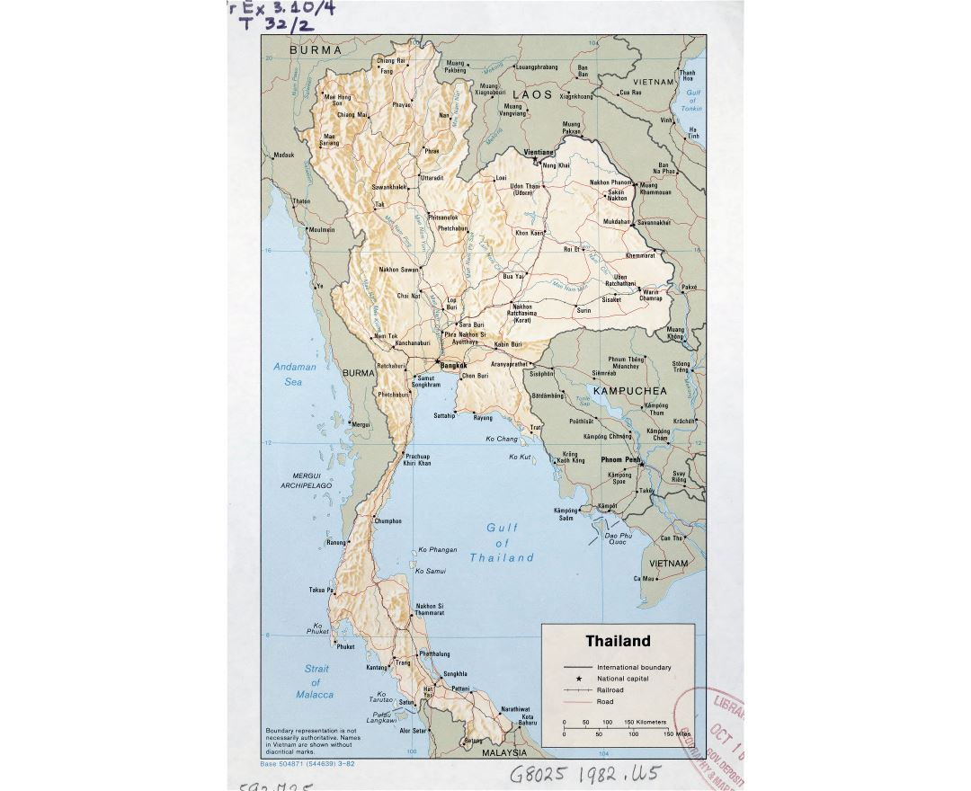 Large detailed political map of Thailand with relief, roads, railroads and major cities - 1982