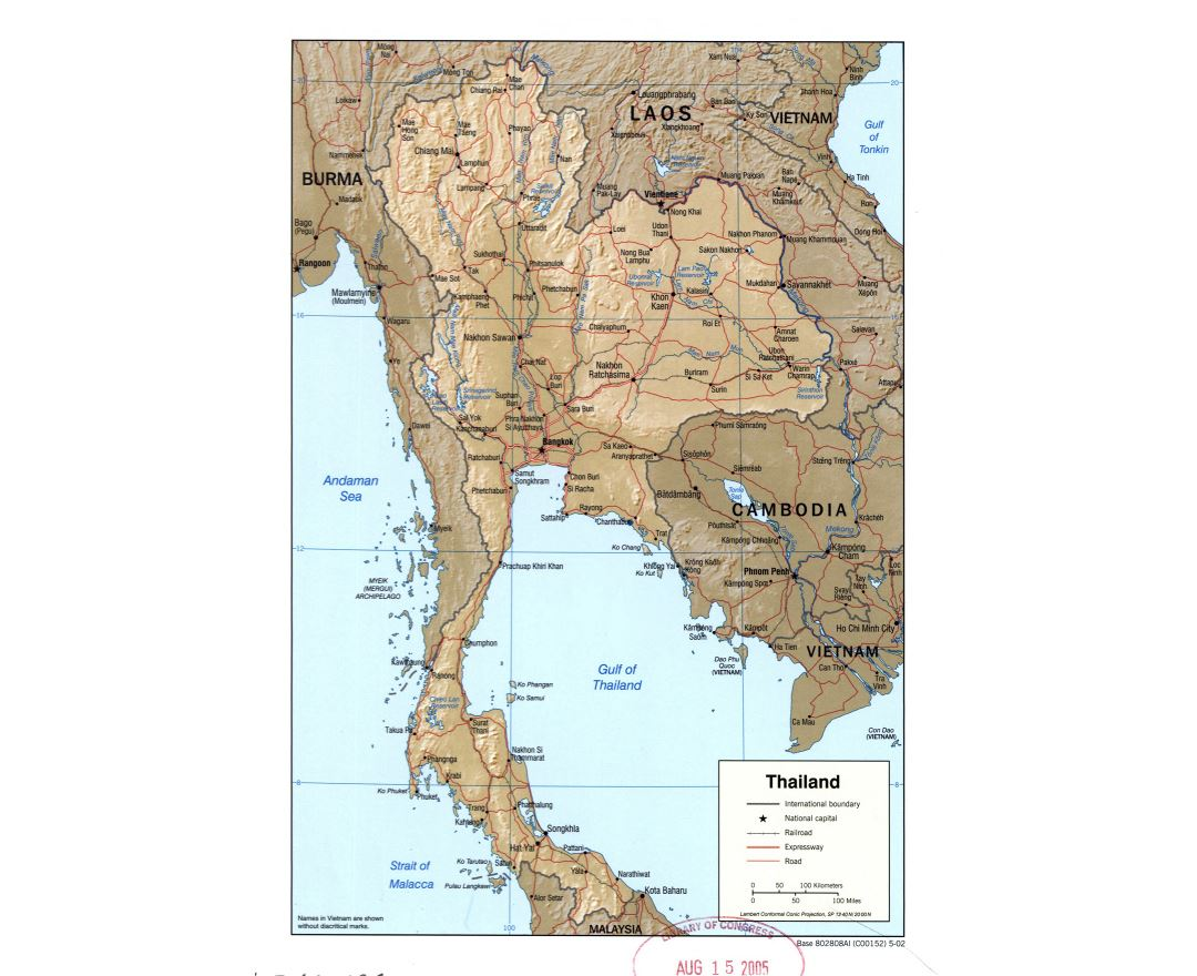 Large detailed political map of Thailand with relief, roads, railroads and major cities - 2002