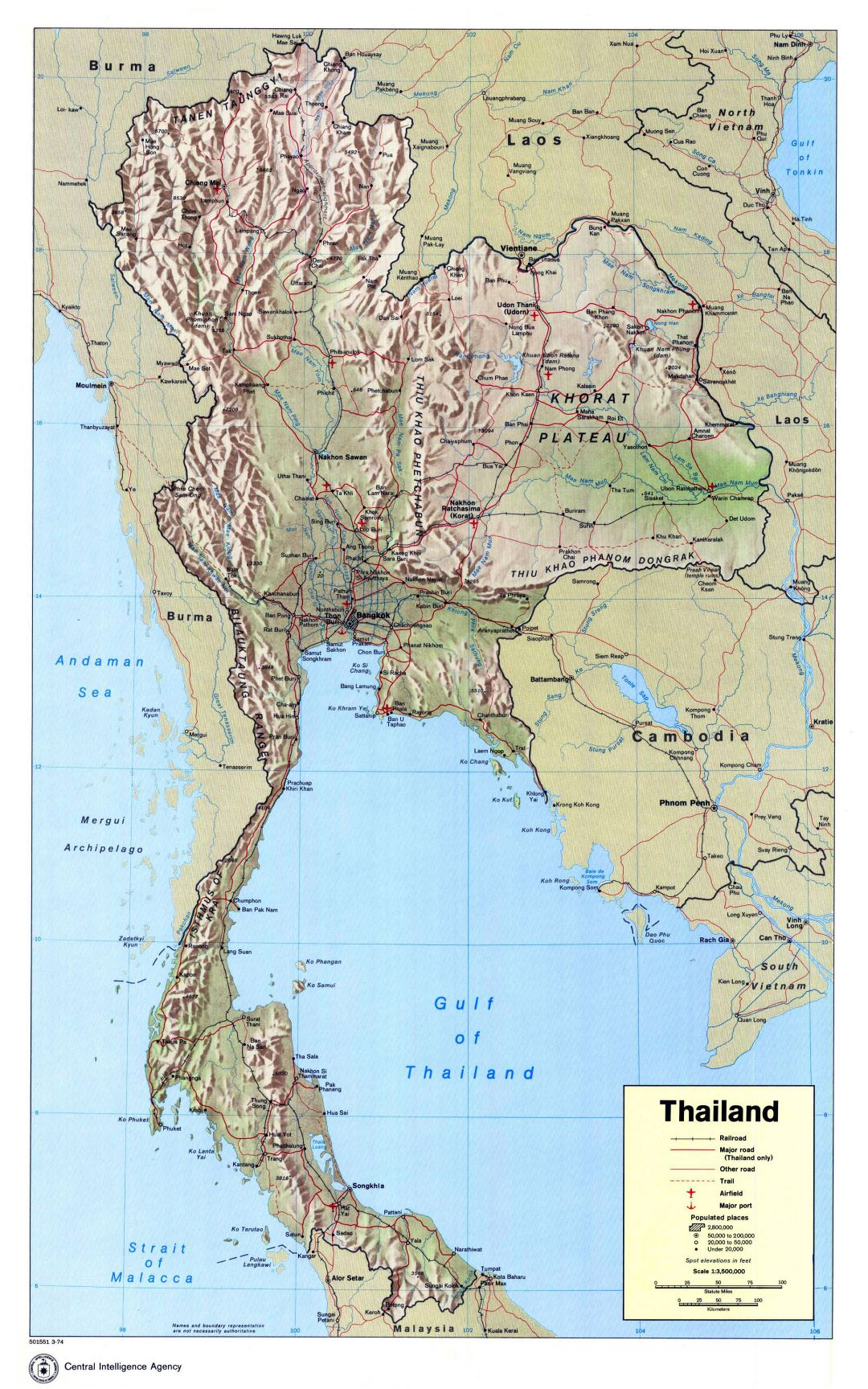 Large detailed political map of Thailand with relief, roads, railroads, major cities, airports and seaports - 1974