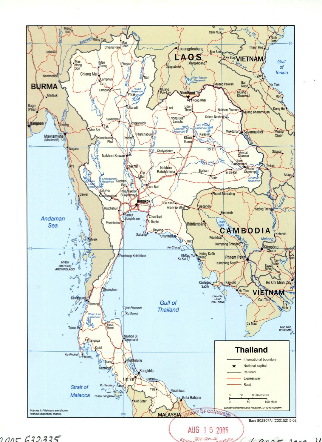 Large detailed political map of Thailand with roads, railroads and major cities - 2002