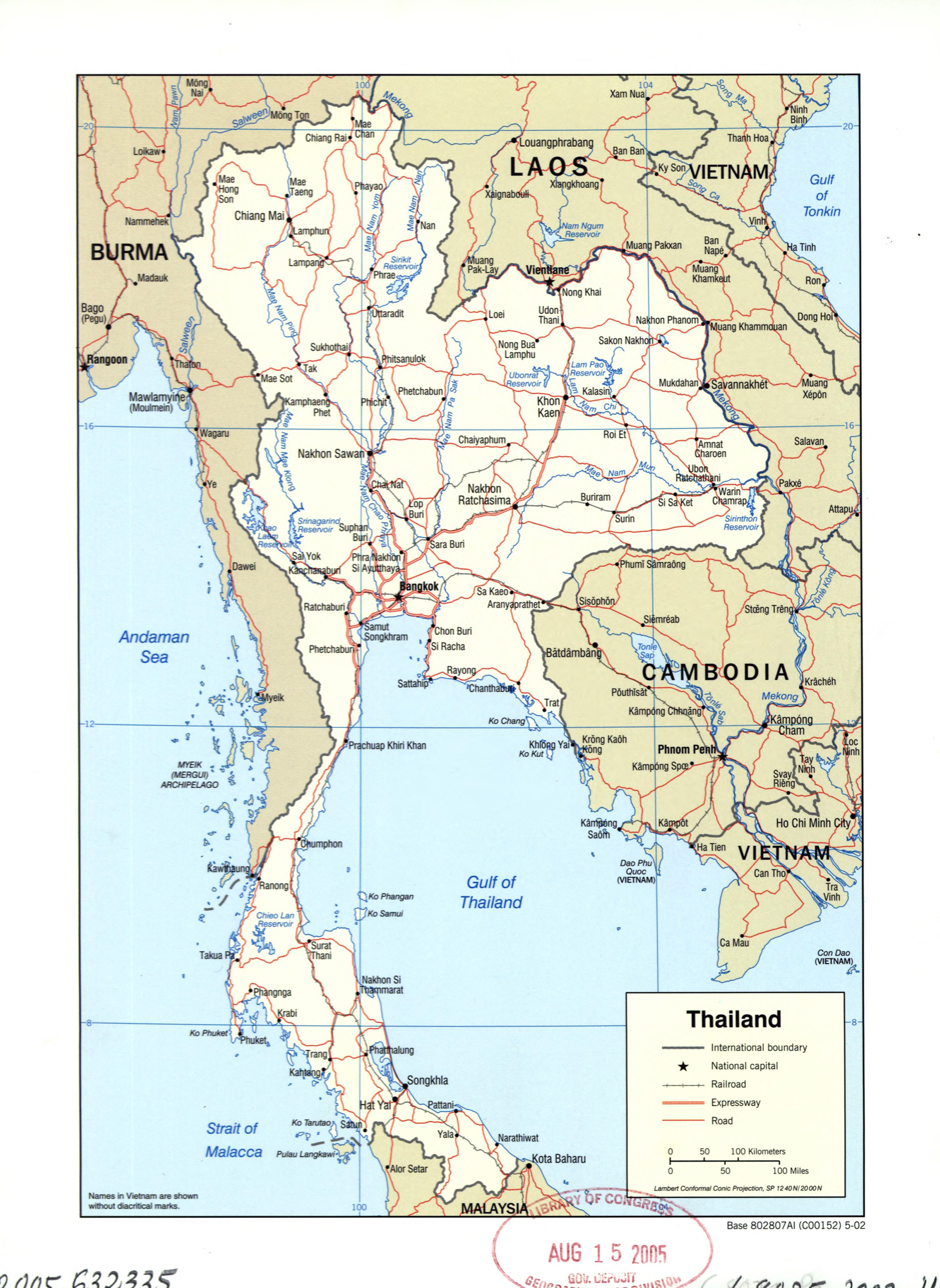 Large Detailed Political Map Of Thailand With Roads Railroads And - Map of thailand cities
