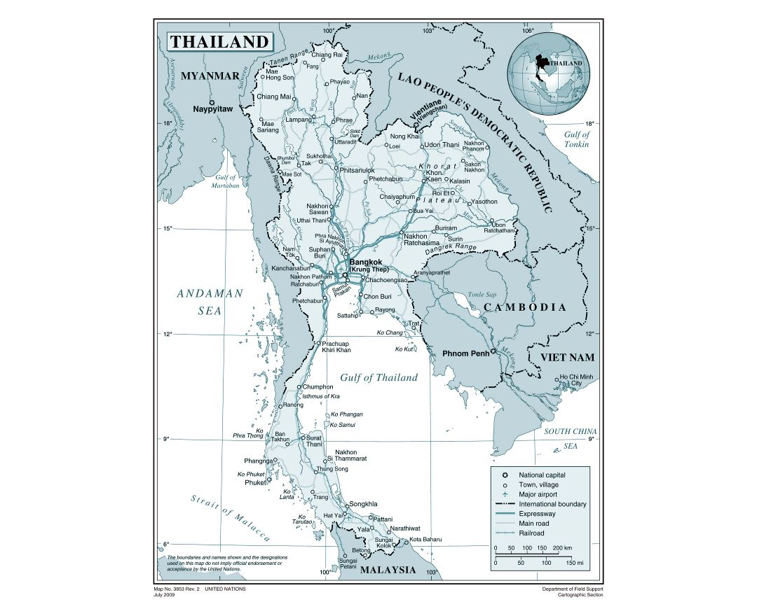 Large detailed political map of Thailand with roads, railroads, cities and airports