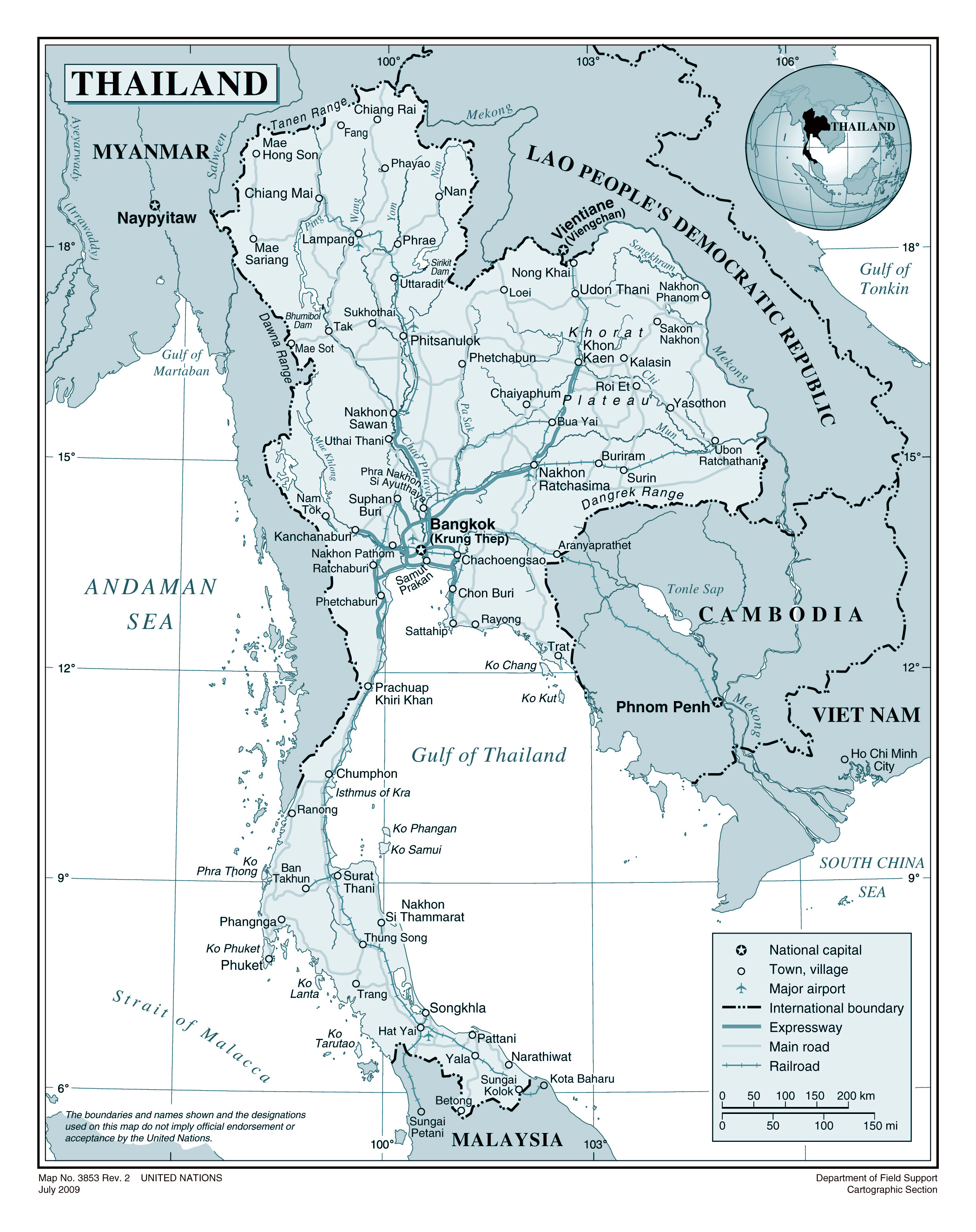 Large Detailed Political Map Of Thailand With Roads Railroads