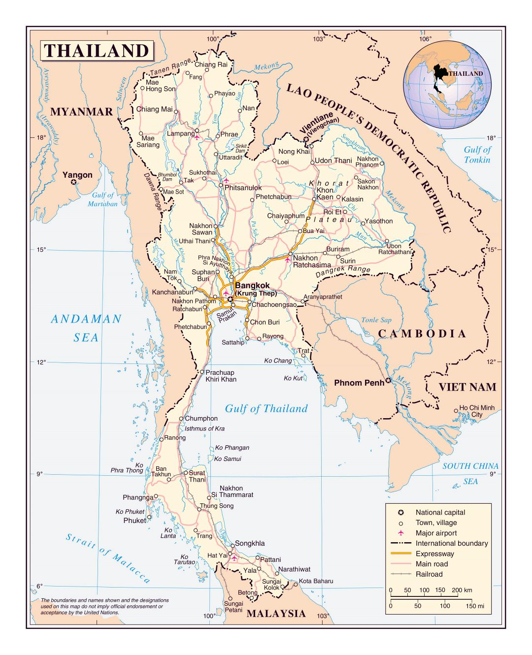 Large detailed political map of Thailand with roads, railroads, major cities and airports