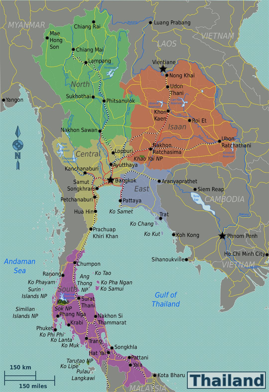 Large detailed regions map of Thailand