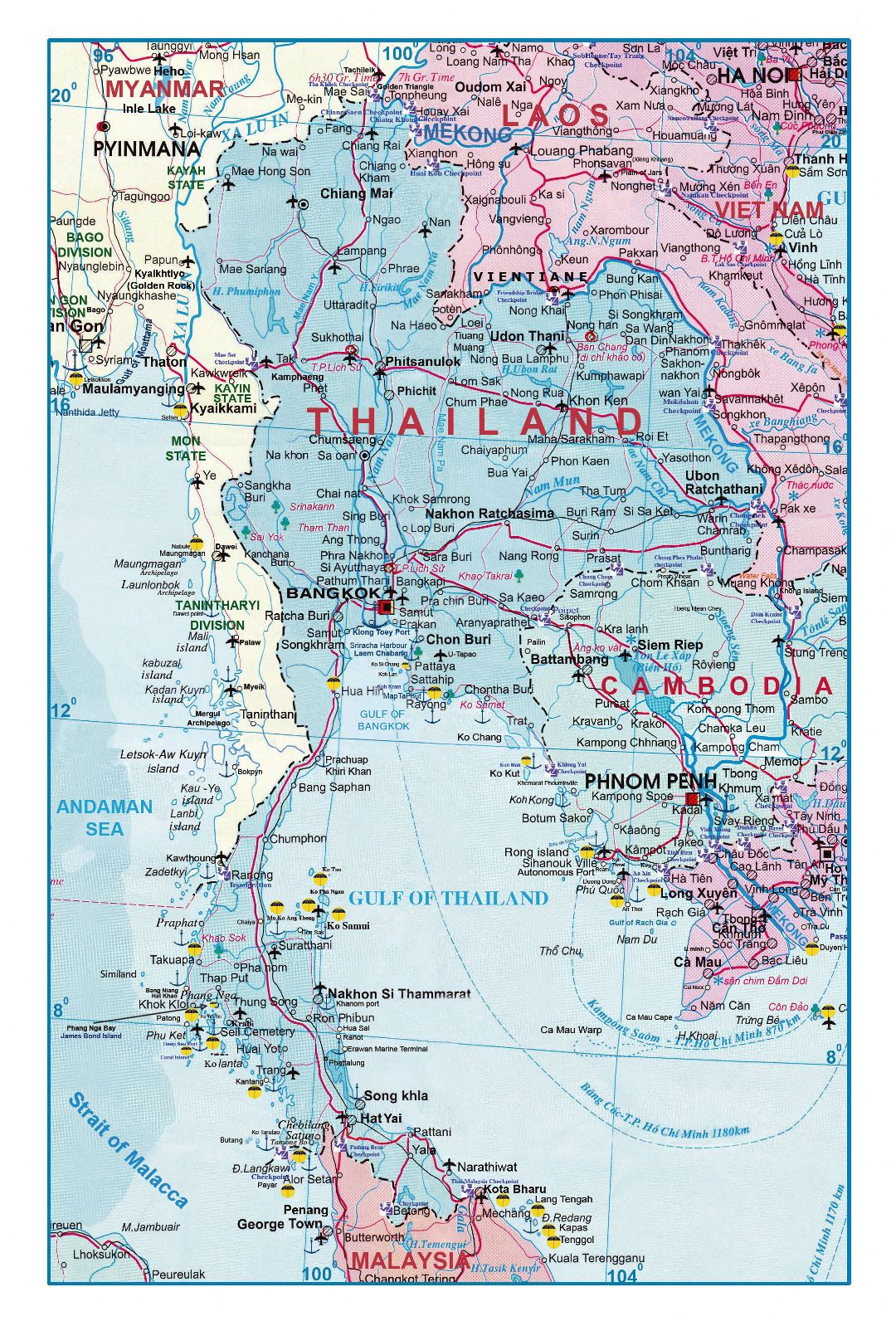 Large detailed road map of Thailand with airports and other marks