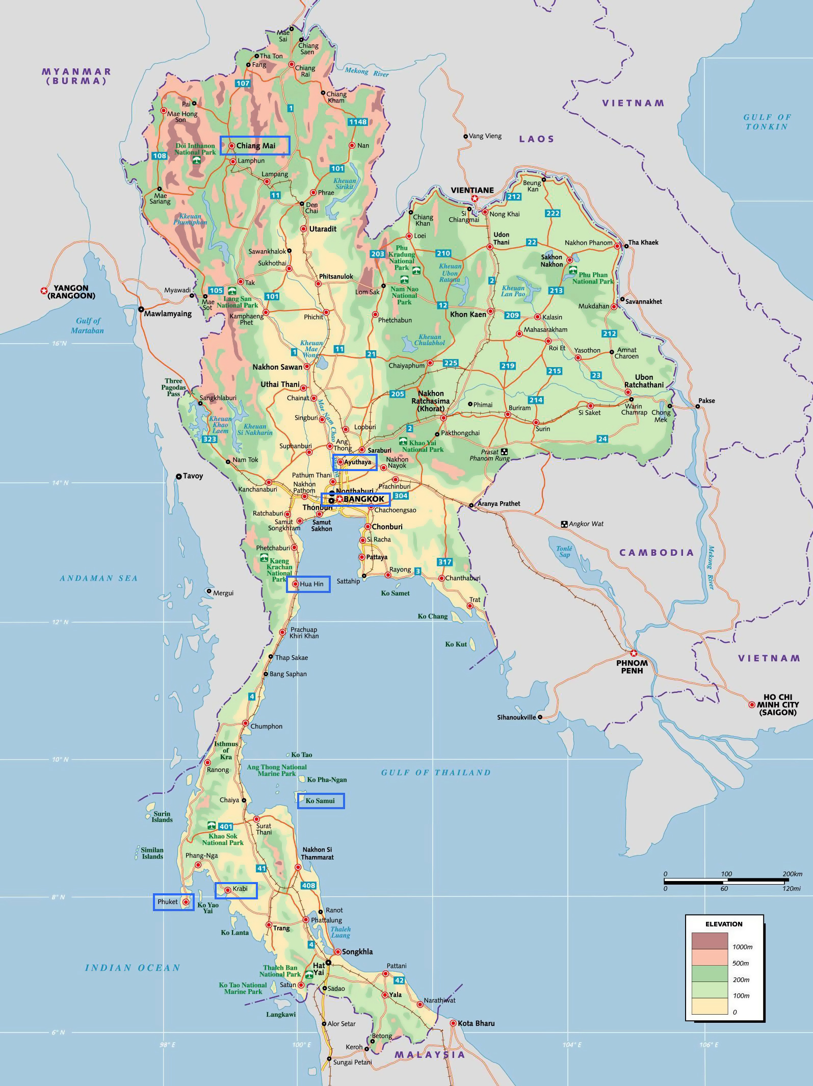 Large elevation map of Thailand with other marks ...