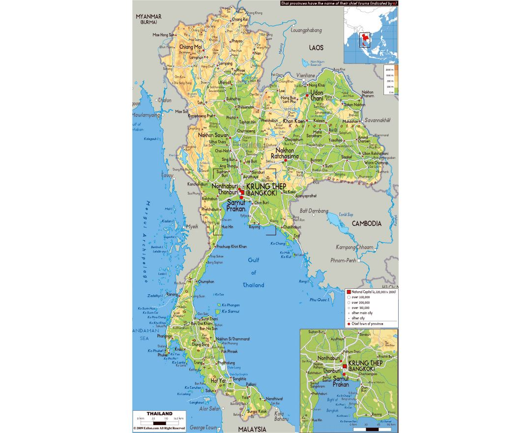 Large physical map of Thailand with roads, cities and airports