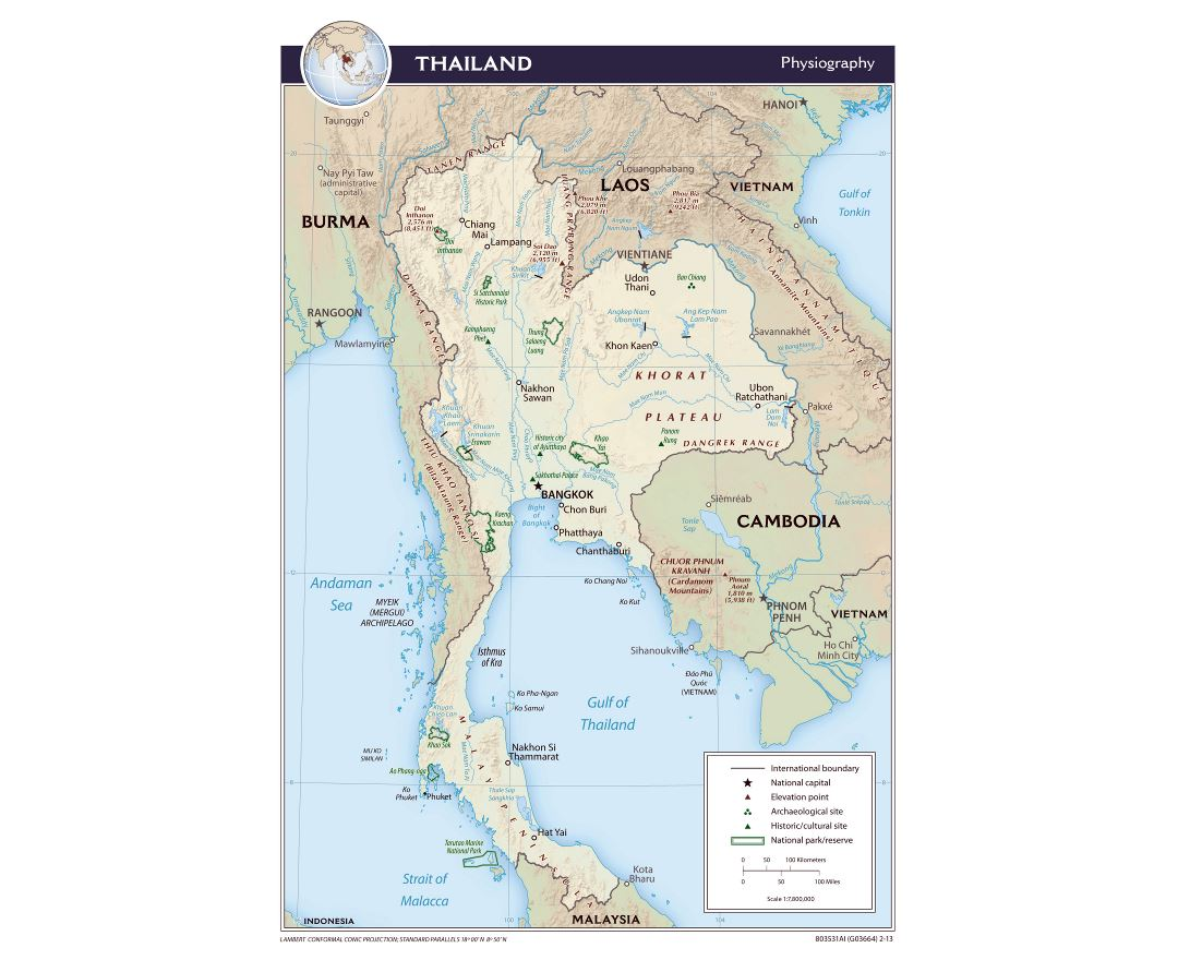 Large physiography map of Thailand - 2013