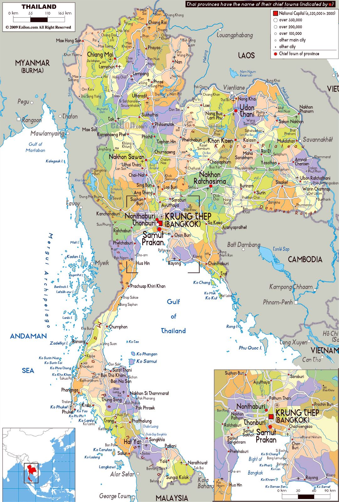 Large political and administrative map of Thailand with roads, cities and airports