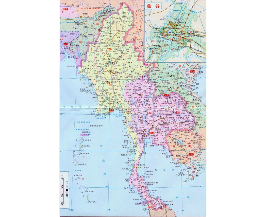 Large political and road map of Burma and Thailand in chinese