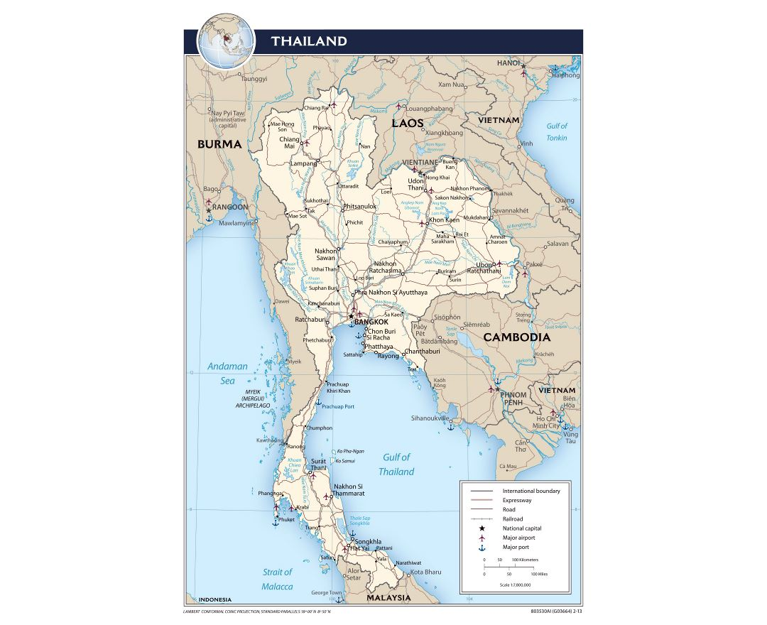 Large political map of Thailand with roads, railroads, major cities, airports and ports - 2013