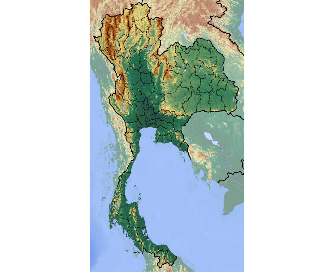 Large relief map of Thailand