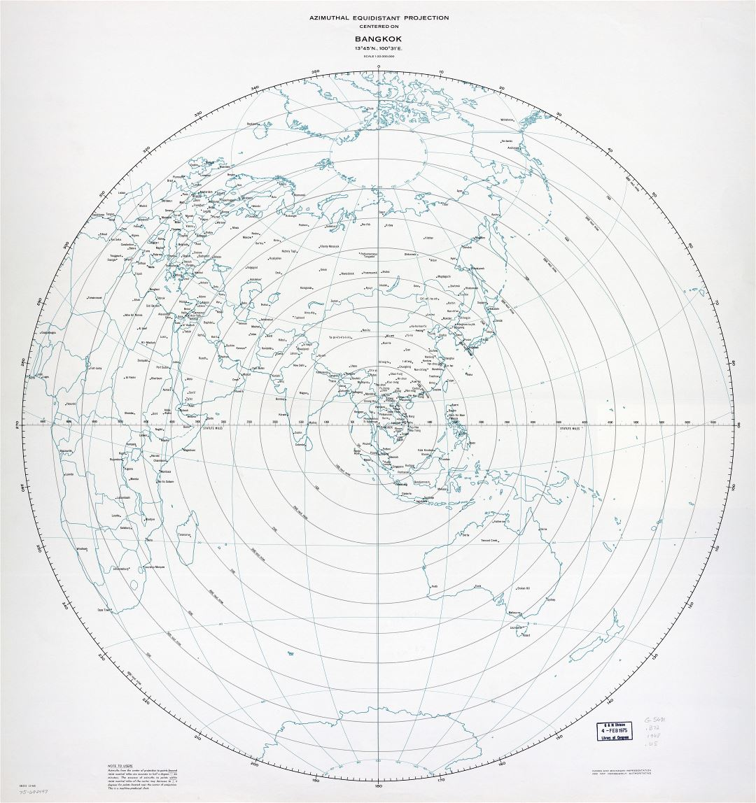 Large scale detailed azimuthal equidistant projection map centered on Bangkok - 1968