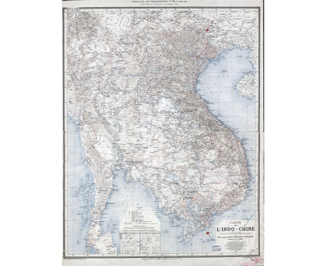 Large scale detailed old map of Indochina - 1895
