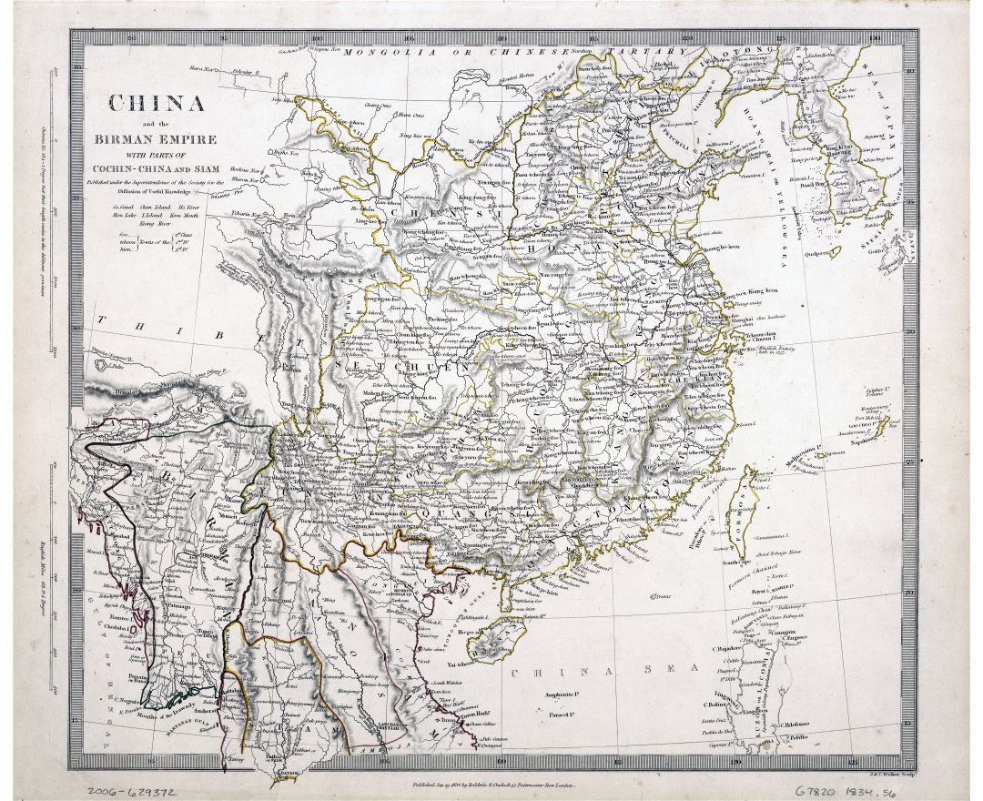 Large scale old map of China and the Birman Empire with parts of Cochin China and Siam - 1834