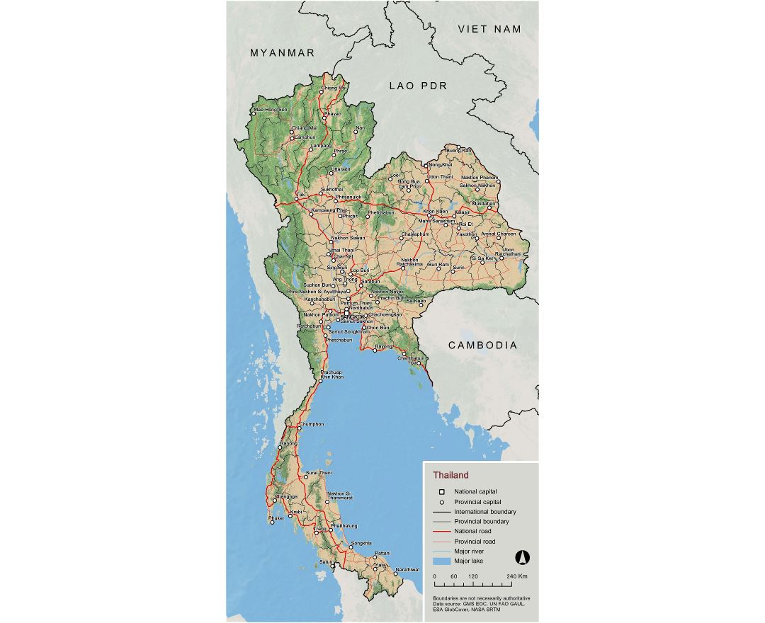 Large scale overview map of Thailand